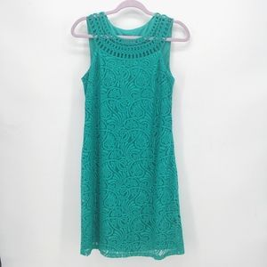 Eliza J Sleeveless Lace Shift Dress in Teal
